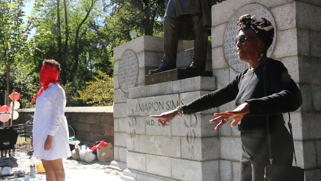 Viola Plummer at #NotOurStatue: Speak-out in front of J. Marion Sims statue!